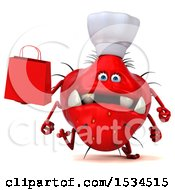 3d Red Chef Germ Monster Holding A Shopping Bag On A White Background