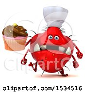 Clipart Of A 3d Red Chef Germ Monster Holding A Cupcake On A White Background Royalty Free Illustration