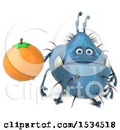 Clipart Of A 3d Blue Germ Monster Holding An Orange On A White Background Royalty Free Illustration