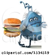 Clipart Of A 3d Blue Germ Monster Holding A Burger On A White Background Royalty Free Illustration