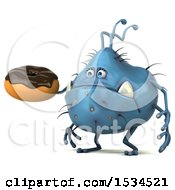Clipart Of A 3d Blue Germ Monster Holding A Donut On A White Background Royalty Free Illustration
