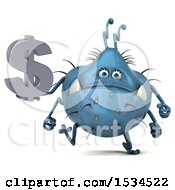 Clipart Of A 3d Blue Germ Monster Holding A Dollar Sign On A White Background Royalty Free Illustration
