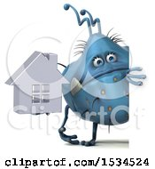 Clipart Of A 3d Blue Germ Monster Holding A House On A White Background Royalty Free Illustration