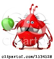 Clipart Of A 3d Red Germ Monster Holding An Apple On A White Background Royalty Free Illustration
