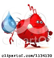 Clipart Of A 3d Red Germ Monster Holding A Water Drop On A White Background Royalty Free Illustration
