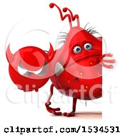 Clipart Of A 3d Red Germ Monster Holding A Devil On A White Background Royalty Free Illustration