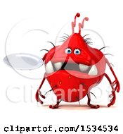 Clipart Of A 3d Red Germ Monster Holding A Plate On A White Background Royalty Free Illustration