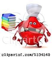 3d Red Chef Germ Monster Holding Books On A White Background