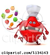 Clipart Of A 3d Red Chef Germ Monster Holding Produce On A White Background Royalty Free Illustration