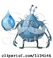 Clipart Of A 3d Blue Germ Monster Holding A Water Drop On A White Background Royalty Free Illustration