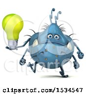 3d Blue Germ Monster Holding A Light Bulb On A White Background