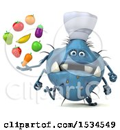 Clipart Of A 3d Blue Chef Germ Monster Holding Produce On A White Background Royalty Free Illustration