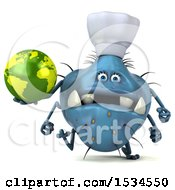Clipart Of A 3d Blue Chef Germ Monster Holding A Globe On A White Background Royalty Free Illustration