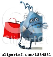 3d Blue Germ Monster Holding A Shopping Bag On A White Background