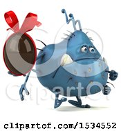 Clipart Of A 3d Blue Germ Monster Holding A Chocolate Egg On A White Background Royalty Free Illustration