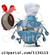 Clipart Of A 3d Blue Chef Germ Monster Holding A Chocolate Egg On A White Background Royalty Free Illustration