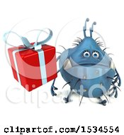 Clipart Of A 3d Blue Germ Monster Holding A Gift On A White Background Royalty Free Illustration