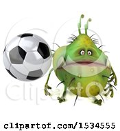 Clipart Of A 3d Green Germ Monster Holding A Soccer Ball On A White Background Royalty Free Illustration