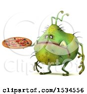 Clipart Of A 3d Green Germ Monster Holding A Pizza On A White Background Royalty Free Illustration