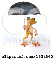 3d Yellow Frog Holding An Umbrella On A White Background
