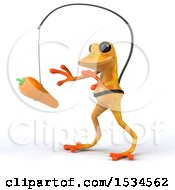 Clipart Of A 3d Yellow Frog Chasing A Carrot On A White Background Royalty Free Illustration