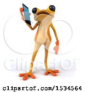 3d Yellow Frog Using A Cell Phone On A White Background