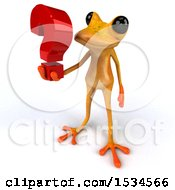 3d Yellow Frog Holding A Question Mark On A White Background
