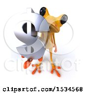 3d Yellow Frog Holding A Dollar Sign On A White Background