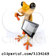 3d Yellow Frog Holding A Tablet On A White Background