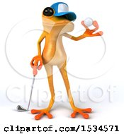 3d Yellow Frog Golfer On A White Background