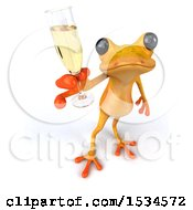 3d Yellow Frog Holding A Glass Of Champagne On A White Background