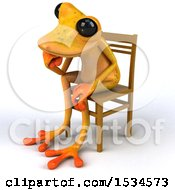 3d Yellow Frog Thinking On A White Background
