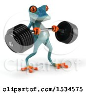 3d Blue Frog Working Out On A White Background