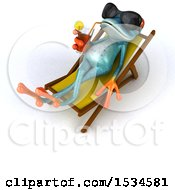 3d Blue Frog Drinking A Beverage Poolside On A White Background
