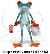 3d Blue Frog Holding A Paintbrush And Can On A White Background