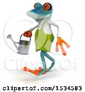 3d Blue Frog Gardener On A White Background