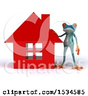 3d Blue Frog By A House On A White Background