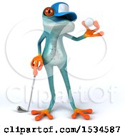 3d Blue Frog Golfing On A White Background
