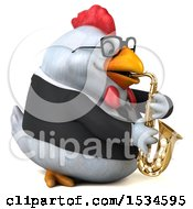 Clipart Of A 3d Chubby White Business Chicken Playing A Saxophone On A White Background Royalty Free Illustration