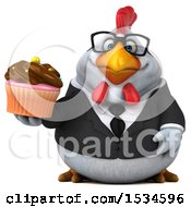 Clipart Of A 3d Chubby White Business Chicken Holding A Cupcake On A White Background Royalty Free Illustration
