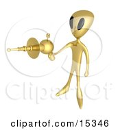 Gold Alien Preparing To Kill With A Powerful Lasergun During An Alien Invasion Clipart Illustration Image