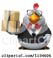 Clipart Of A 3d Chubby White Business Chicken Holding Boxes On A White Background Royalty Free Illustration