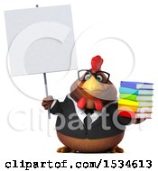 Clipart Of A 3d Chubby Brown Business Chicken Holding A Books On A White Background Royalty Free Illustration