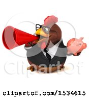 Clipart Of A 3d Chubby Brown Business Chicken Holding A Piggy Bank On A White Background Royalty Free Illustration