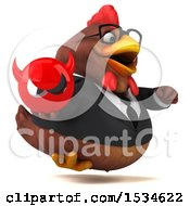 Clipart Of A 3d Chubby Brown Business Chicken Holding A Devil On A White Background Royalty Free Illustration