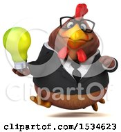 Clipart Of A 3d Chubby Brown Business Chicken Holding A Light Bulb On A White Background Royalty Free Illustration