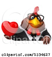 Poster, Art Print Of 3d Chubby Brown Business Chicken Holding A Heart On A White Background