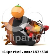 Clipart Of A 3d Chubby Brown Business Chicken Holding An Orange On A White Background Royalty Free Illustration