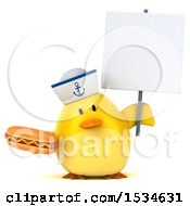 Clipart Of A 3d Yellow Bird Sailor Holding A Hot Dog On A White Background Royalty Free Illustration
