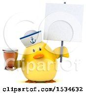 3d Yellow Bird Sailor Holding A Beer On A White Background